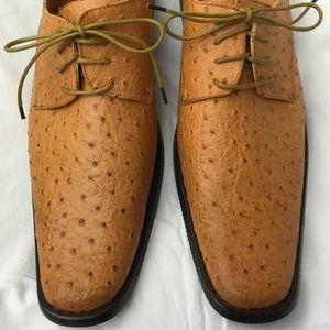 Men's 8 New in Box Tan Faux Ostrich Print Shoes